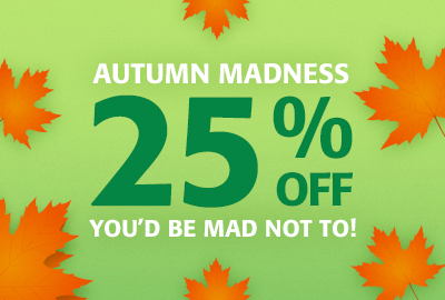 Autumn Madness - 25% off to Britain